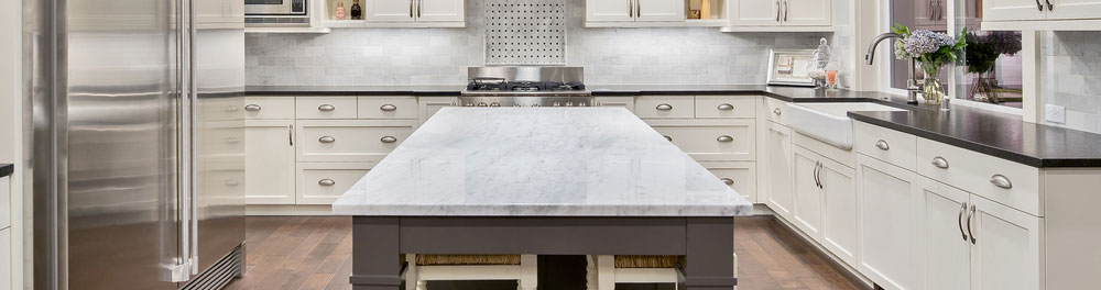 Marble kitchen countertop.